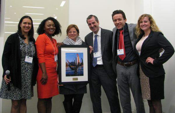 From left: Samira Nazem, LCBH Pro Bono Coordinator, Katrice Hall, Cheryl Lawrence, LCBH Executive Director, Taylor Hammond, Director, Justice Entrepreneurs Project, John Norkus, and Joanna Long.