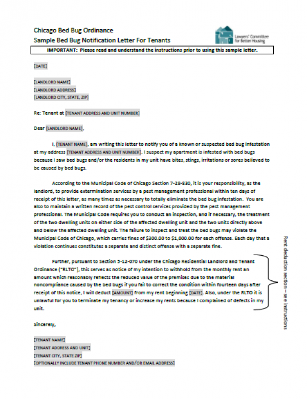 Sample Bed Bug Notification Letter For Tenants Lawyers